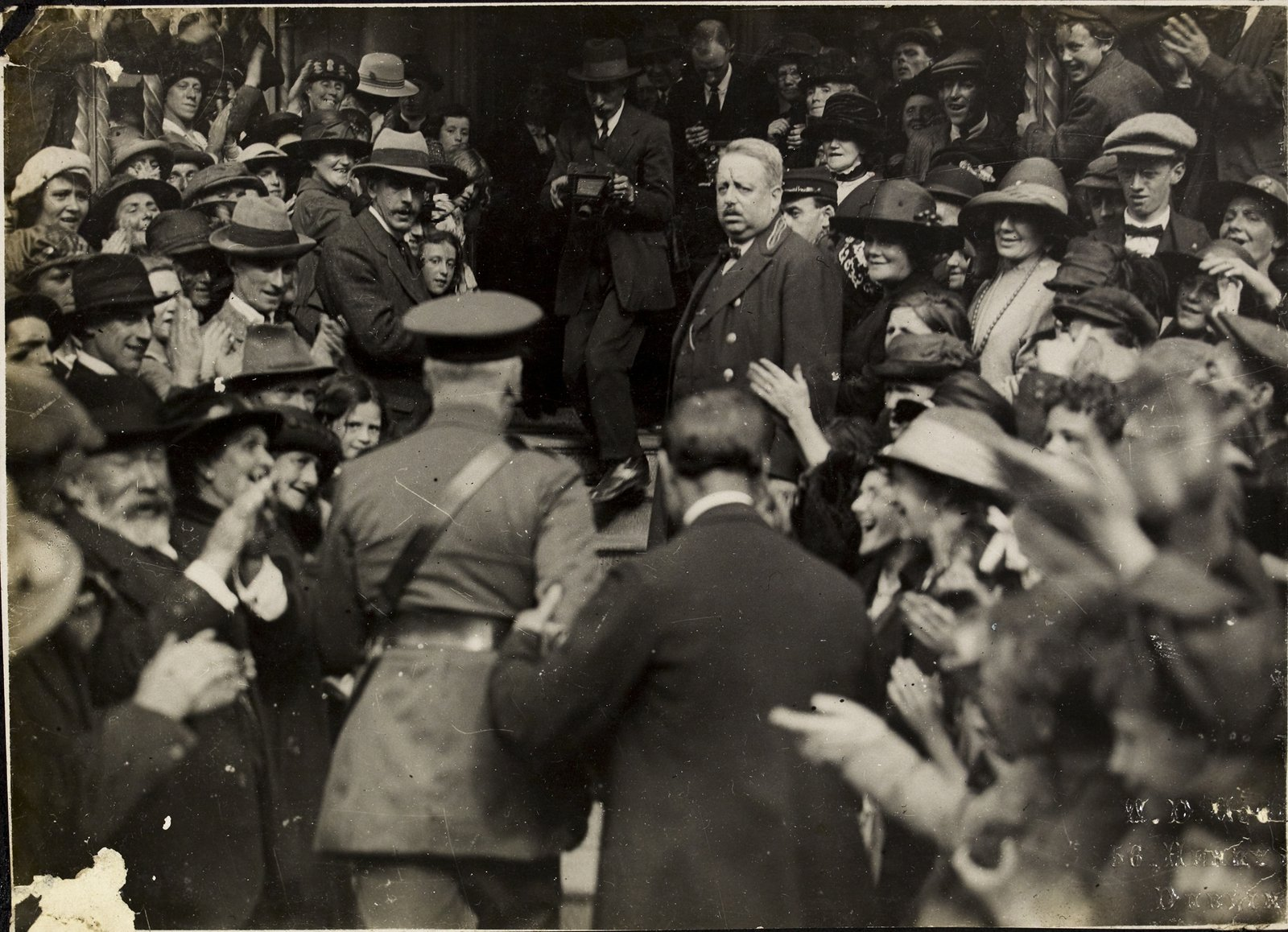 Image - Nevil Macready arriving at the Mansion House for the conference that led to the signing of the Treaty - with a pistol in his pocket. Photo: National Library of Ireland