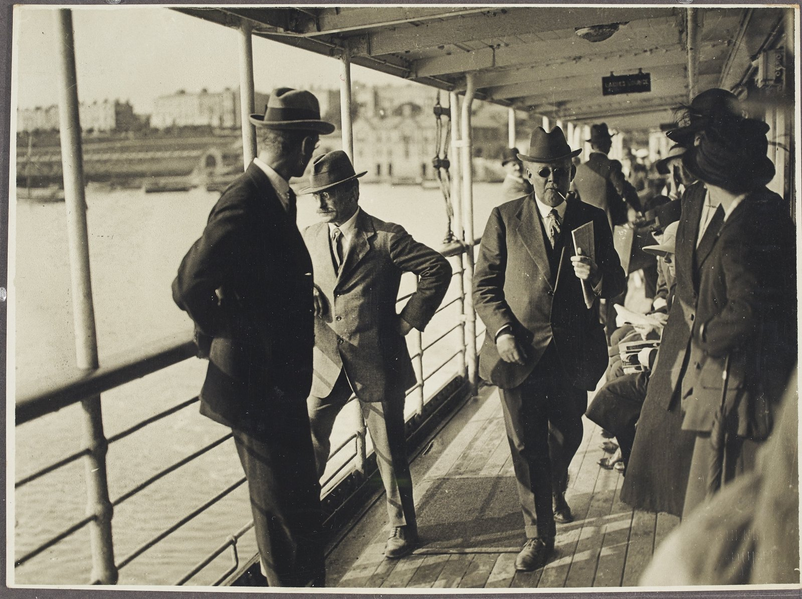 Image - Éamon de Valera and Arthur Griffith leaving Dublin on board the Curraghmore mailboat in July 1921, the day after the truce comes into effect, en route to negotiate with Lloyd George. Image courtesy of the National Library of Ireland