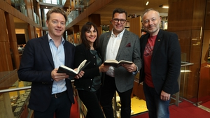 Dalkey Book Festival co-founders David McWilliams and Sian Smyth (left) with RTE's Rick O'Shea (right)