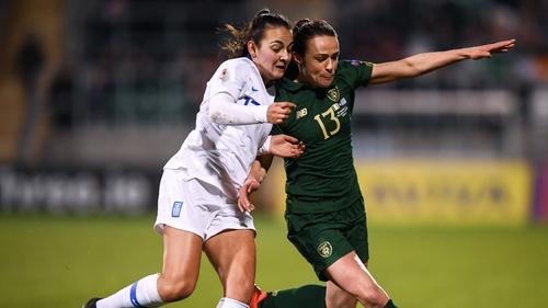 Aine O'Gorman challenges Athanasia Moraitou of Greece for the ball