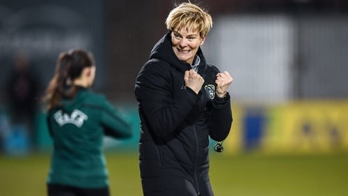 The Ireland manager celebrates at the final whistle as her side beat Greece at Tallaght Stadium