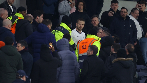Eric Dier is seen speaking to Tottenham Hotspur fans in the stands after the Norwich match
