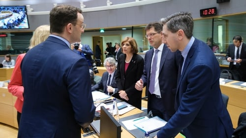 Minister for Health Simon Harris (right) with other ministers prior the start of the meeting in Brussels