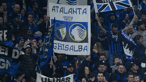 Supporters of Atalanta during the UEFA Champions League Round of 16 match against Valencia