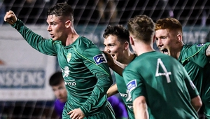 Shane Barnes (L) struck late on for Cabinteely