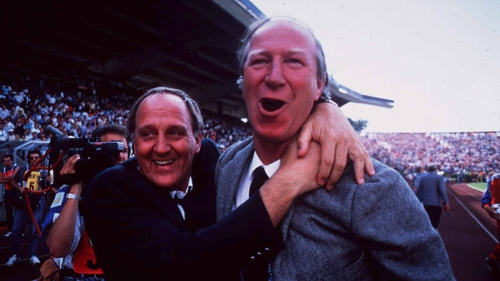 Jack Charlton, right, and Assistant Manager Maurice Setters celebrate the win over England
