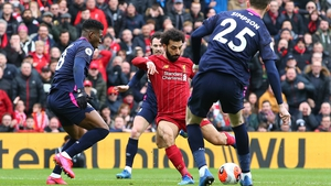 Mohamed Salah equalising for Liverpool