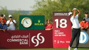 Jorge Campillo tees off on the 18th hole during the third round of the Commercial Bank Qatar Masters