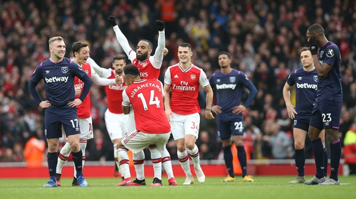 After a prolonged period of VAR scrutiny, Alexandre Lacazette was finally able to celebrate his goal