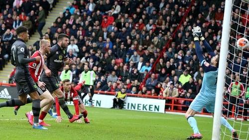 Billy Sharp heads home the winner for Sheffield United