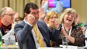 Micheál Naughton reacts after he was elected as LGFA President Elect