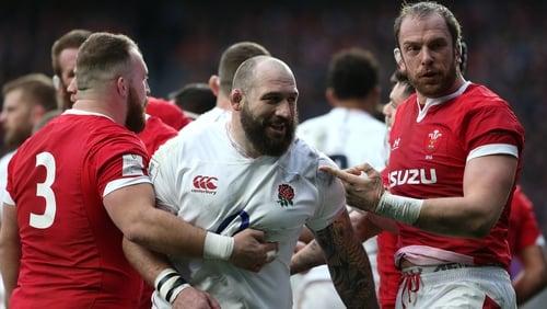 Wales captain Alun Wyn-Jones points at Joe Marler of England