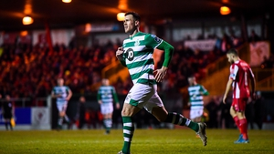 Aaron Greene celebrates after scoring Shamrock Rovers' third goal