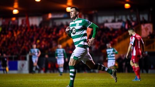 Aaron Greene celebrates after scoring Shamrock Rovers' third goal