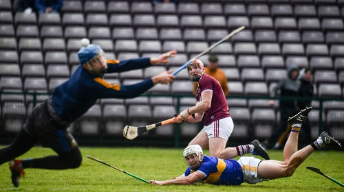 Conor Whelan lashing home his second goal for the hosts as Galway overwhelmed Tipp in the second half