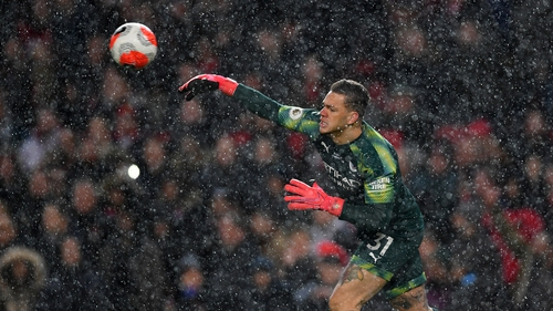 Ederson throws the ball to Scott McTominay for United's second