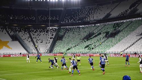 Juventus take on Inter in an empty stadium