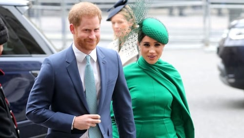 Harry and Meghan arriving for the Commonwealth Service at Westminster Abbey