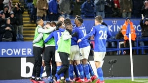 Harvey Barnes is mobbed after opening the scoring
