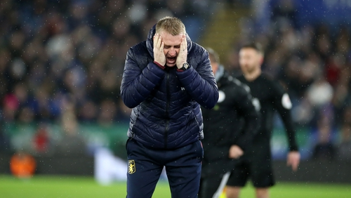 Dean Smith shows his frustration during the heavy defeat to Leicester