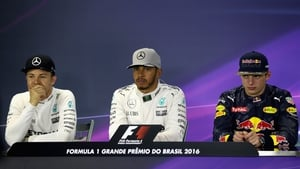 (L to r) Rosberg, Hamilton and Verstappen at Brazil 2016