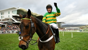 Barry Geraghty punches the air after his Champion Hurdle win on Epatante this season