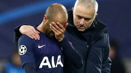 Jose Mourinho consoles Lucas Moura after the final whistle