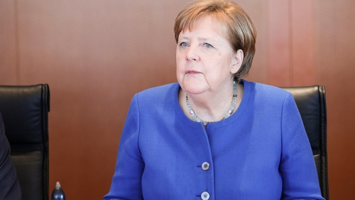 German Chancellor Angela Merkel continues to work remotely