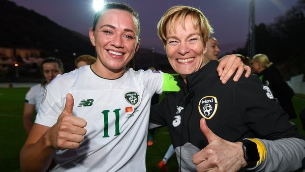 Captain Katie McCabe and manager Vera Pauw celebrate at final whistle