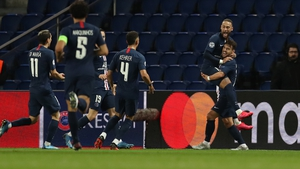 Neymar celebrates scoring PSG's opener
