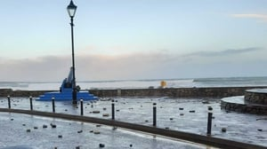Strandhill promenade in Co Sligo closed to clear stones and wave debris (Pic: Sligo County Council)