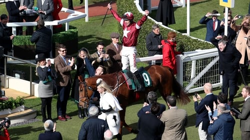 Davy Russell celebrates riding Samcro to win the  Marsh Novices Chase