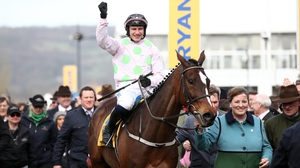 Paul Townend celebrates riding Min to win the Ryanair Chase at the Cheltenham Festival