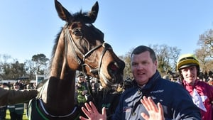 Gordon Elliott with Apple's Jade after she won her 10th Grade 1 race, the BHP Insurance Irish Champion Hurdle, at Leopardstown in 2019