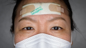 The pads, plasters and tape protect their faces from painful sores that can develop as they tend to coronavirus patients