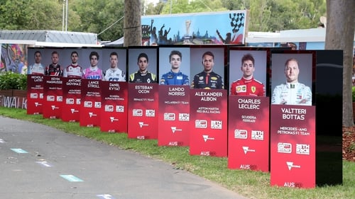 A deserted display of the drivers is pictured after the Formula One Australian Grand Prix was cancelled in Melbourne