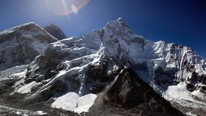 Mount Everest (back centre) on the Nepal-Tibet border