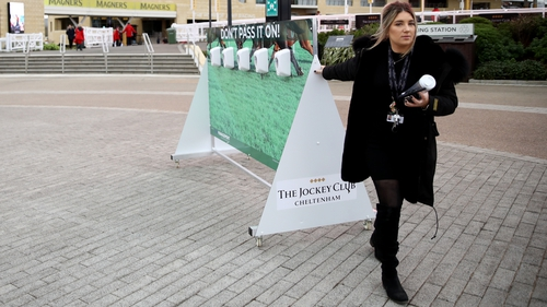 Hand sanitisers have been installed in Cheltenham, but social distancing is difficult to implement at packed Prestbury Park