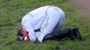 Jockey Jamie Moore was left in despair after Goshen dismounted him at the last