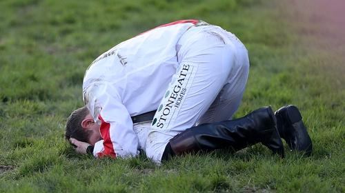 Jockey Jamie Moore was left in despair after Goshen dismounted him at the last