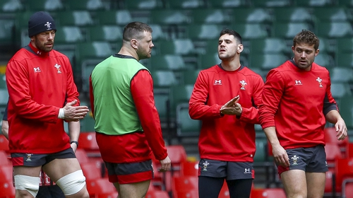 Wales' captain Alun Wyn Jones (L) with his teammates in the captain's run at the Principality Stadium