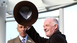 Willie Mullins salutes the crowd after winning the Gold Cup
