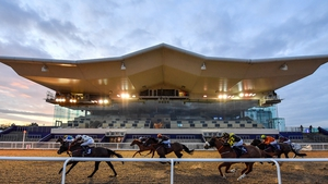 A view of the field as they pass the empty grandstand at Dundalk Stadium
