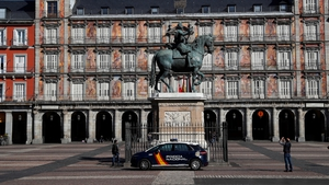 An empty square in Madrid as Spain ramps up measures to curb the spread of Covid-19