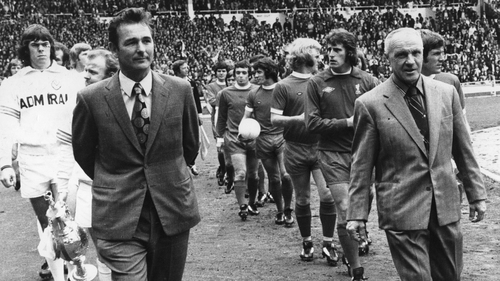 Brian Clough and Bill Shankly lead out their teams at Wembley for the Charity Shield match between Leeds United and Liverpool in 1974