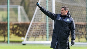 Hibernian manager Jack Ross at a training session on Thursday
