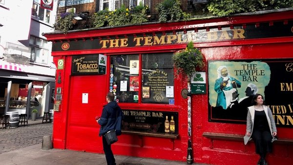 Temple Bar in Dublin is among the tourist areas affected by Covid-19