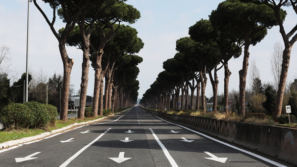 Cristoforo Colombo, one of the main roads into Rome, is completely empty as Italian daily life grinds to a halt