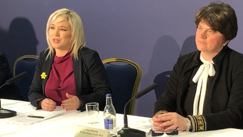 Michelle O'Neill and Arlene Foster have differing opinions on school closures in NI