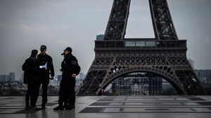 Police in front of the Eiffel Tower